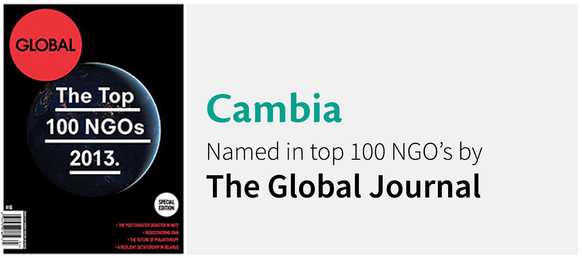 Cambia named in top 100 NGO's by The Global Journal