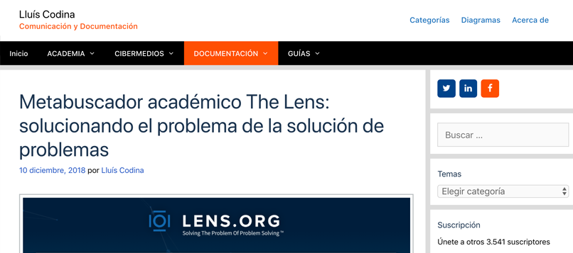 Academic metasearch engine The Lens: solving the problem of solving problems
